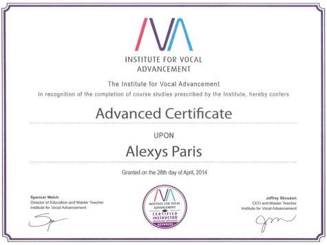 IVA-Advanced Instructor's Certificate SLS/IVA Singing Voice Lessons Technique